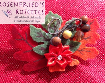 Fall Harvest Flower and Leaf Hairclip