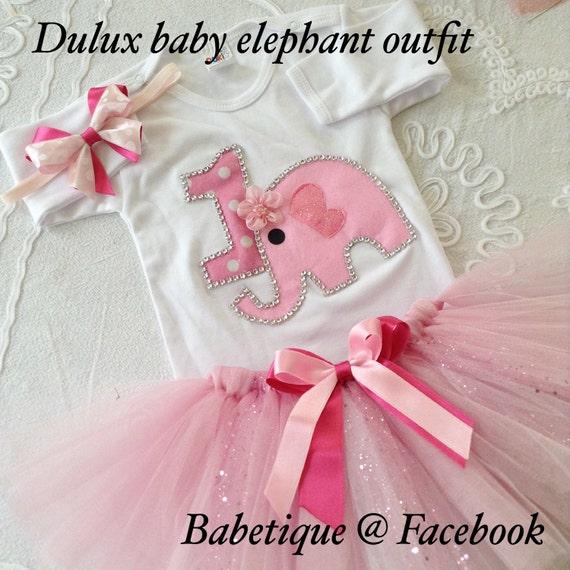 Girls 1st Birthday Tutu Outfit Elephant By BABETIQUEUK On Etsy