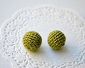 Crochet beads 15 mm - 10 pcs - wood round beads, olive green, handmade, ash wood, forest green, dark green
