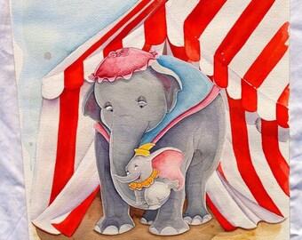 Fine Art Quality 8x10 Print of Dumbo & Mrs. Jumbo
