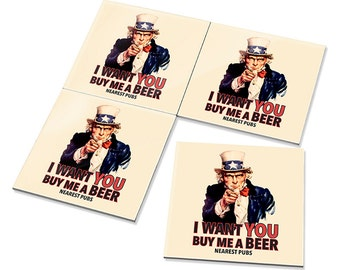 4pcs I Want You Buy Me a Beer - Fun Uncle Sam - Kitchen, Dining & Bar Drink Ceramic Tile Coasters Set
