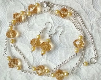 Golden yellow swarovski crystal silver chain necklace with matching sterling silver earrings, springtime necklace