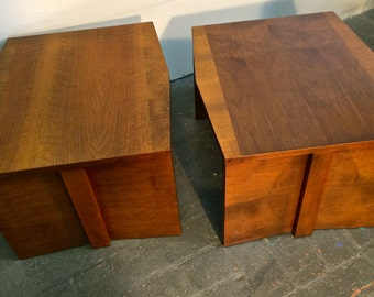 1960s Lane Furniture Trapezoid End Tables Large Brutalist Side Tables