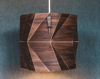 Wood Drum Lamp Shade Wood Pendant Light Ceiling Light Fixture Wood Lamp Shade Modern Pendant Light in Veneer- Fault Lines