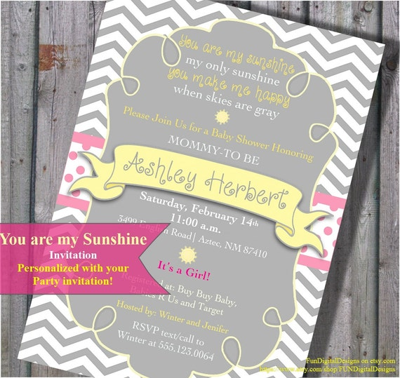 you are my sunshine baby shower invitation in it 39 s a girl pink yellow