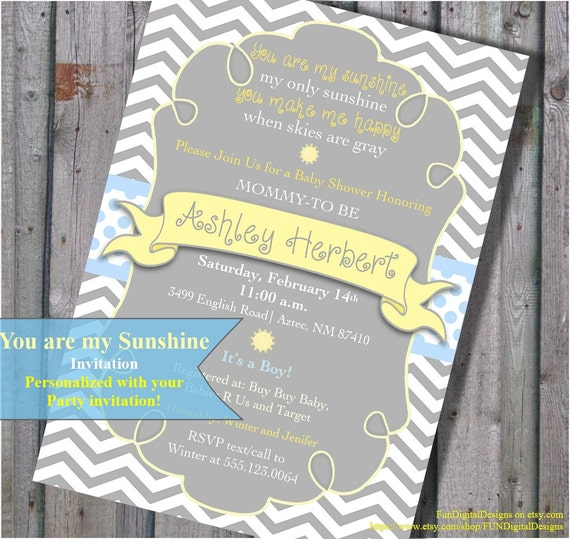 Items similar to You Are My Sunshine Baby Shower Invitation Its a