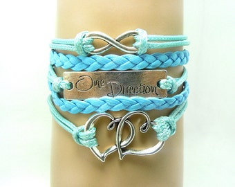 Blue Heart Infinity Leather bracelet, Handmade Bracelet ,Friendship Leather Bracelet