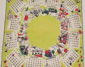 Vintage 1949 Calendar Hankie