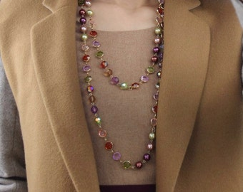 Versatile Pearl and Bezel-Set Crystal Necklace in Plum Option