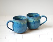 Set of 2 Ceramic Mugs - Ceramic Cups - Handmade Stoneware Teacups or Coffee Mugs - Blue Pottery - Blue Kiss Glaze