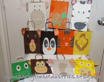 10 Zoo Safari Jungle  Animals Favor/Goodie/Candy Bag