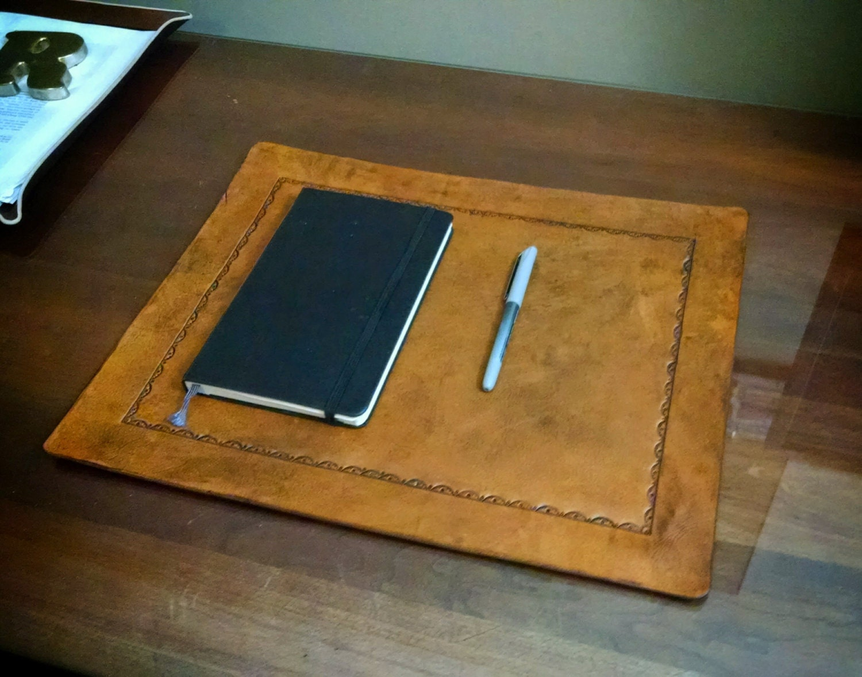Desk Pad Office Blotter Pad In Full Grain Leather