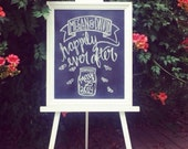 Custom wedding chalkboard and easel, hand lettered ceremony seating sign, built to your specifications