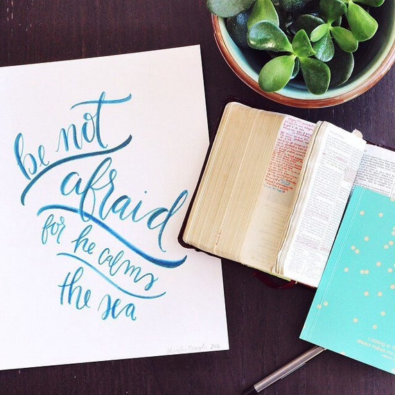 Boys nursery, Scripture print, watercolor bible verse art, be not afraid, home decor, boys room decor