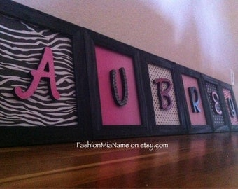 FRAMED NURSERY LETTER art | 6 letter name | Hot pink wall art | Zebra nursery | Zebra decor | Framed baby name