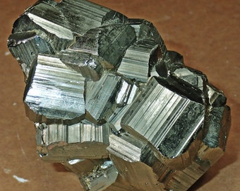 Large Striated Pyritohedral Pyrite Crystal Cluster
