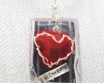 Resin Pendant - Resin Jewelry - Mixed Media Necklace – Heart Jewelry – Be Mine- Sterling Silver Necklace