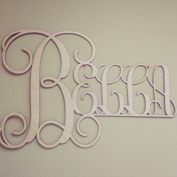 Name In Lights Wall Decor : Wood Wall Art, Full Name Monogram, Wooden Monogram, Wedding Decor
