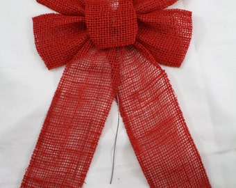 Red Burlap / Jute Bows with wire(BRBxxx-11) Different sizes, great for country, rustic, primitive Christmas decorations