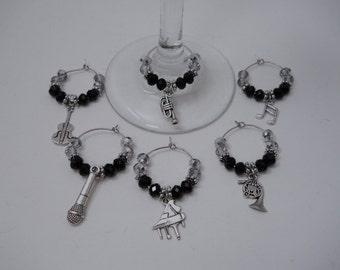 "6 ""Music"" Theme Charms,Wine Glass Charms, Beaded Wine Charms,Wine Accessories,Wine Glass Ring,Charm Ring,Wine Glass Hoop,Music Charms,Charms"