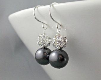 Bridesmaid earrings, Wedding jewelry, Bridesmaid gift, Maid of Honor jewelry, silver black earrings, Swarovski pearls Rhinestone ball dangle