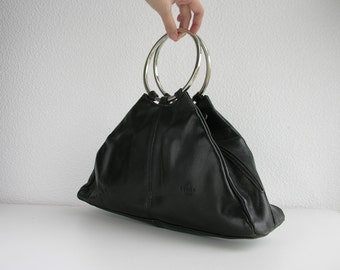 Etrier French vintage bag / black leather bag / unique shape bag