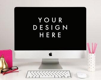 Styled Stock Photography Image - Digital Download -  Fuschia Pink Notebook -  Mac Computer Screen Keyboard - Pink Polka Dot Straws - Display