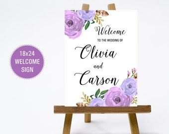 PRINTABLE 18x24 Wedding Welcome Sign - Print Poster Board - Purple Flowers and Calligraphy