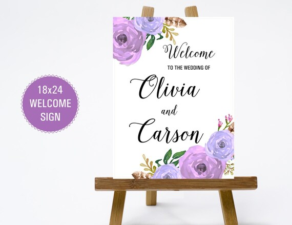 ... Welcome Sign - Print Poster Board - Purple Flowers and Calligraphy