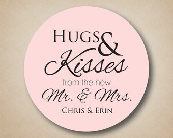 Hugs and Kisses from the new Mr and Mrs Stickers Wedding Candy Buffet Labels Personalized Favor Sticker Bridal Shower Favors