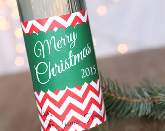 Set of FOUR Personalized Christmas Wine Labels Holiday Red Green Chevron Wine Sticker Custom Wine Label Holiday Party Favors Neighbor Gift