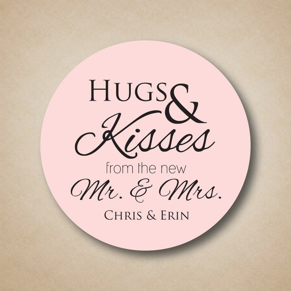 hugs and kisses from the new mr and mrs stickers wedding candy