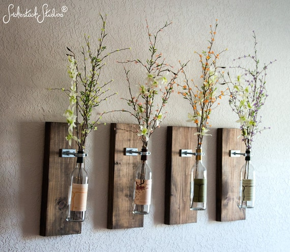 Wall Vase Set Of Four Rustic Modern Decorations Wine Decor