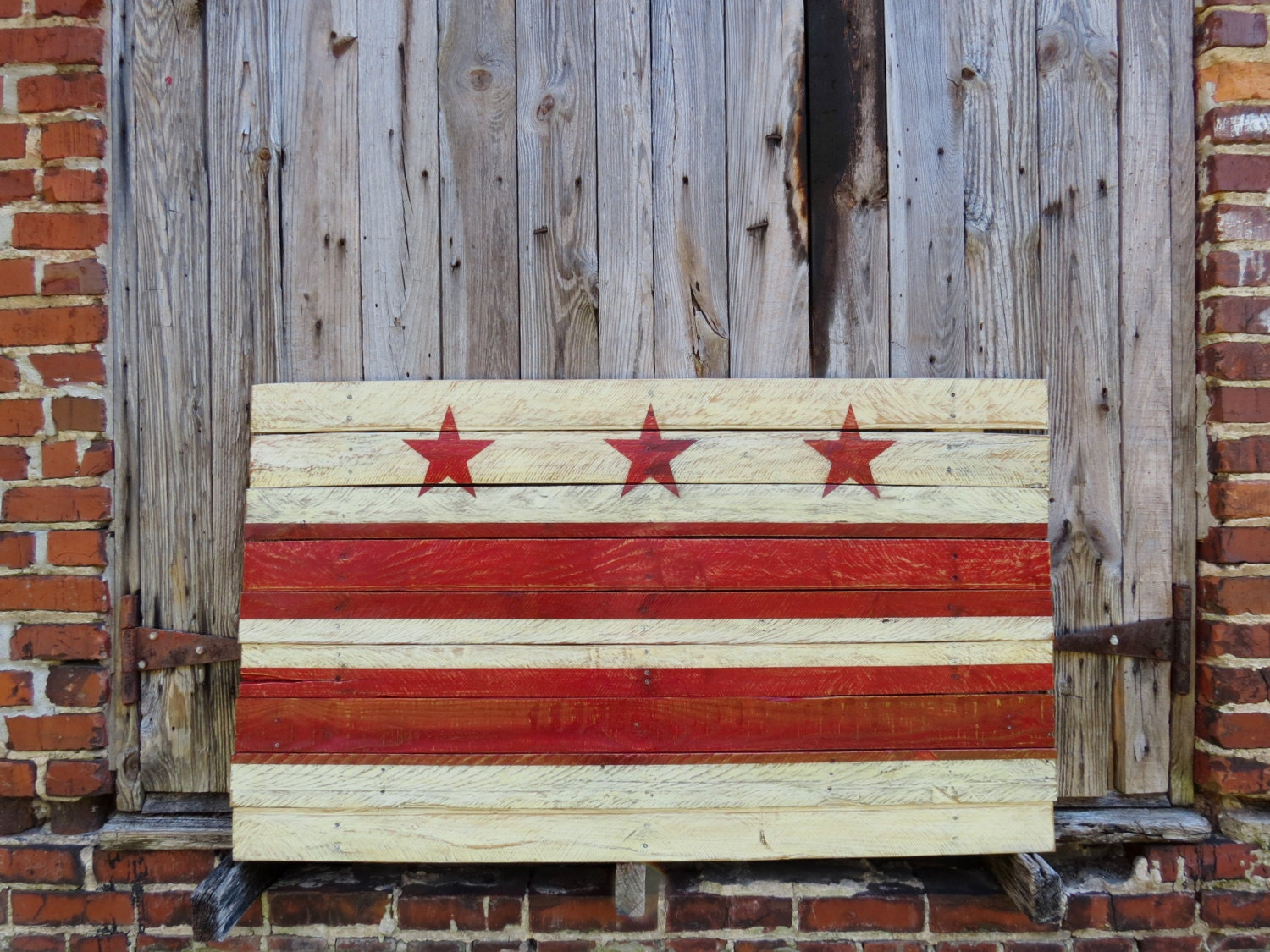 Washington dc flag hand painted on reclaimed wood district for Reclaimed wood dc