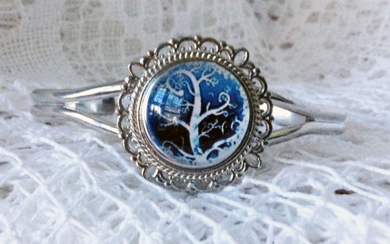 TREE OF LIFE Bangle Bracelet Winter Style Tree Turquoise sky White Jewelry for Her