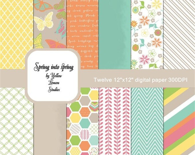 "Spring time background ""SPRING PAPERS"" Easter flowers, Butterflies, kraft paper, flowers, vines, orange, yellow, green blue, tan, pink"