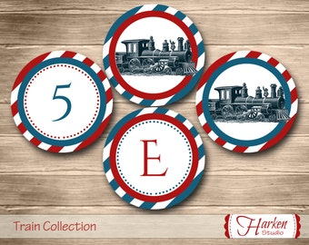 Train Party Circles, Train Birthday Party Circles, Train Cupcake Topper, Train Party Circles Train Party Decor Red Blue navy