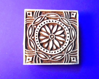 Hand Carved Square Wood Stamp Indian Print Block (A48)