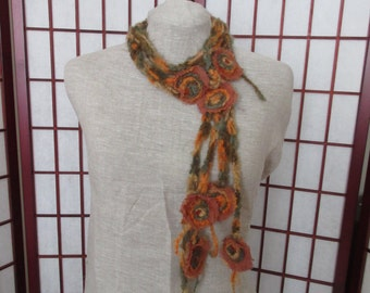 Scarf-Necklace with felted flower