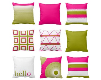 Accent Pillow Covers, Hot Pink Olive White, Geometric Pillows, Home Decor, Decorative Pillow Cover, Mix and Match, Cushion Cover