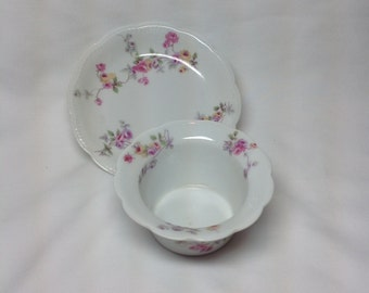 Vintage BBF Vierzon Austria Flower Custard Cup and Small Plate Dish Saucer