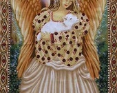 "Christmas Angel cotton panel -- approximately 23"" x 44"""