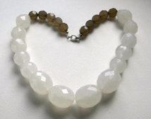 SALE ITEMS: Chunky Necklace - Repurposed - Lucite Beads - White Bead Necklace