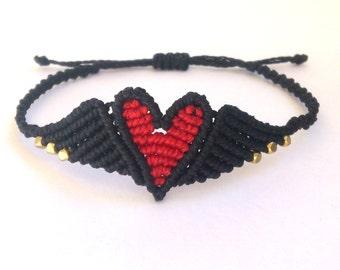 Macrame Angel Wings Heart Bracelet/Friendship Bracelet