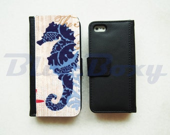 Seahorse Wallet Case for iPhone 7, iPhone 6, iPhone 6s, iPhone 6 Plus, iPhone 5, iPhone 5s, iPhone 4/4s, Leather Wallet Case