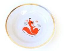 Soviet Children's Plate/Bowl with cute orange Squirrel