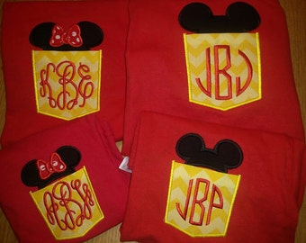 Mickey Minnie Mouse Ears Pocket Tees custom Disney World Tees