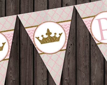 pink gold banner, royal princess birthday banner, instant download at purchase, HAPPY BIRTHDAY digital banner in pink and gold quatrefoil