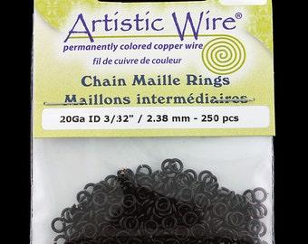 "Artistic Wire Black Jump Ring 2.4mm ID (3/32"") 20ga (pkg/250)  (900AWB-11)"