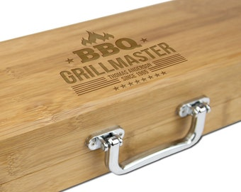 Personalized BBQ Set, Bamboo Three Piece BBQ Set, Father's Day Gift, Grillmaster [BBQ-005]